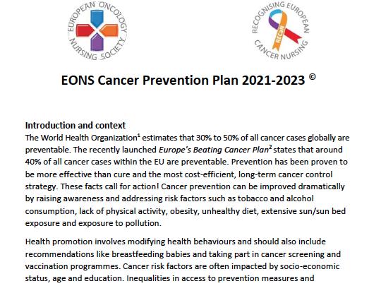 EONS Cancer Prevention Plan 2021-2023 ©
